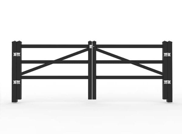 Kunststof poort- zwarte omheining