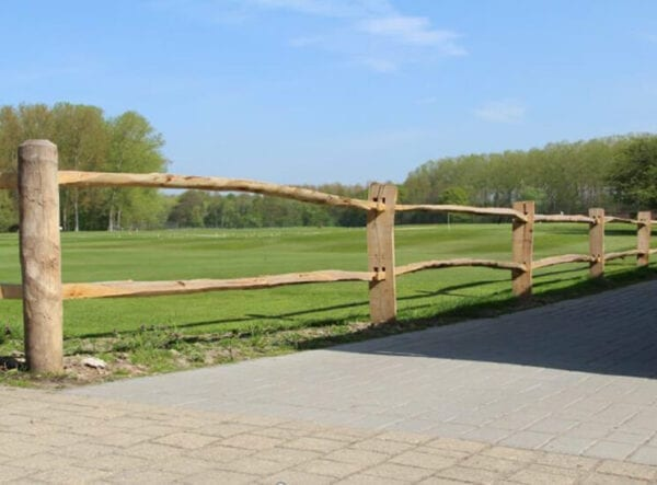 Post en rail hekwerk - omheining van Acacia hout - Kastanje