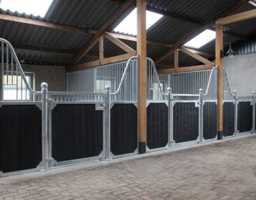 Voorraad paardenboxen gecombineerd met oude gebinten